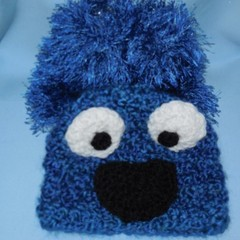Baby Beanie and Faux Fur Booties Inspired by Cookie Monster/Photo Prop