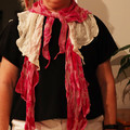 Shabby chic partly hand-dyed funky style Scarf - wear it your way!