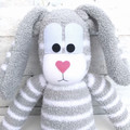 'Bernard' the Sock Bunny - grey & white - *READY TO POST* (Easter)
