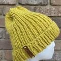 Mustard ladies or mens knitted beanie alpaca wool