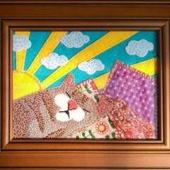 Sun Sleeping Cat Fabric Art