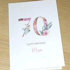 Personalised age Birthday card - Magnolias