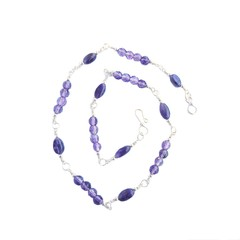 Purple Amethyst and Sterling Silver Necklace