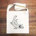 Hand printed platypus calico shoulder bag