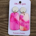 Pink and Pearl resin dangle Earrings