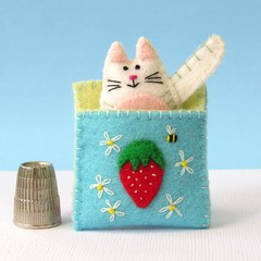 Cat in a Sleeping Bag - Felt Kitten Miniature Toy - Tin Bed