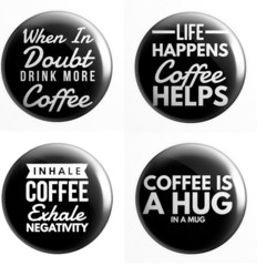 Coffee set of 4 x 25 mm badges or magnets