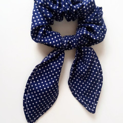 Hair scrunchie- Navy and white polka dot print