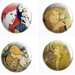 French Poster set of 4 x 25 mm badges or magnets
