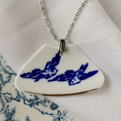 Blue Willow Swallows pendant