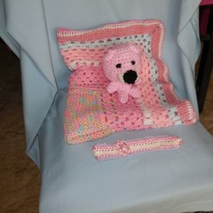 Baby Blanket/Wrap/Bunny Rug, Toy Bear and Head band