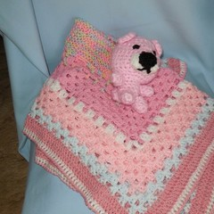 Baby Blanket/Bunny Rug, Soft Toy Bear and Head band