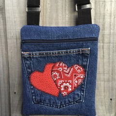 Upcycled Denim Cross Body Bag