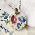 Blue and Pink Flowers pendant