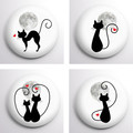 Cats set of 4 x 25 mm badges or magnets