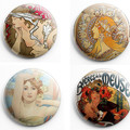 Alfons Mucha  set of 4 x 25 mm badges or magnets