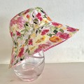 Girls summer hat in fresh floral fabric