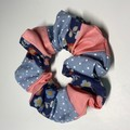 Patchwork scrunchie - denim spot/rose/navy flower