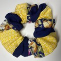 Patchwork scrunchie - navy sheer/yellow and white floral/navy floral pattern