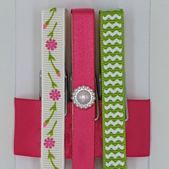 Pink & Green, Flowers & Waves peg magnet