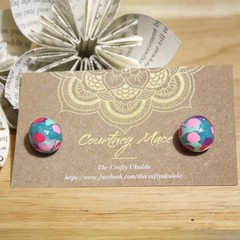 Teal and Pink Sphere Ball Earrings - Polymer Clay
