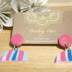 Pastel Pink and Teal Earrings - Polymer Clay Eaarings - Imperfect - B grade