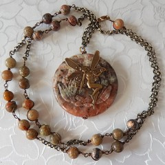 Natural Jasper stone beads &  large Jasper pendant
