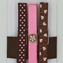 Pink & Brown peg magnet