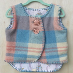 Handmade upcycled wool vest  size 1
