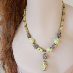 Genuine Wild lemon Turquoise Necklace and Earrings set