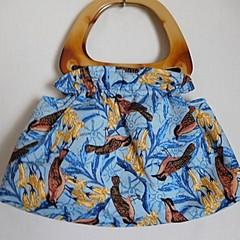 Birds on blue ruffled bag, Top handle bag, Birds on blue bag,  Blue gathered and
