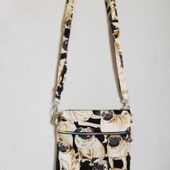 Cross Body zippered bag, Pug cross body bag, Rainbow zippered cross body bag, Cr