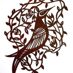 Honey Eater with Wildflowers woodcut