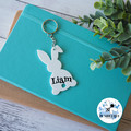Bunny Kids Bag Tag Easter Rabbit Personalised Name White Keyring Key chain