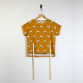 Mustard Gold Bee Boxy Short Sleeve Cotton Top with Ties