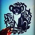 Koala woodcut