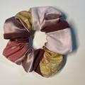 Patchwork scrunchie - dusty pink satin/burgandy sheer/paisley/pink linen/spot