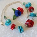 Blue Turquoise and Red coral Stone necklace & Earrings Set