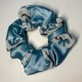 Patchwork scrunchie - blue green satin/sheer pattern