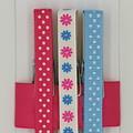 Pink & Blue Flowers & Spots peg magnet