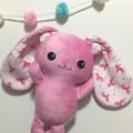 Pink Easter Bunny Rabbit Toy with Unicorns Handmade Floppy Ear Bunny