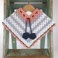 Pure Wool Crochet Poncho | 6 - 12 Mths | Girls | Hand Crocheted | Peach & Grey