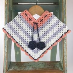 Pure Wool Crochet Poncho | 6 - 12 Mths | Girls | Hand Crocheted | Peach & Grey