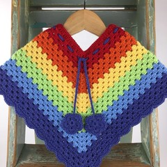 Pure Wool Rainbow Poncho | 1 - 2 Years | Girls | Hand Crocheted | Ready to Post