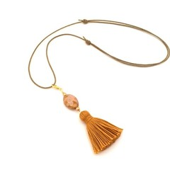 Boho Chic Tassel Necklace, Adjustable Necklace with Detachable Charm Pendant