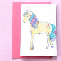 FREE POST | Unicorn Birthday Blank Art Card | Junior Artist