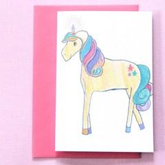 FREE POST | Unicorn Birthday Blank Art Card | Junior Artist