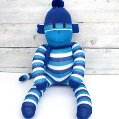 'Parker' the Sock Monkey - royal blue, aqua and white stripes -*MADE TO ORDER*