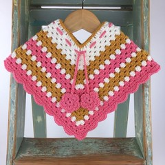 Pure Wool Crochet Poncho | 6 - 12 Mths | Girls | Hand Crocheted | Ready to Post
