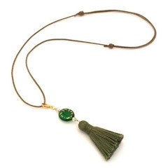 Tassel Necklace, Adjustable Necklace with Detachable Charm Pendant, Boho Necklac